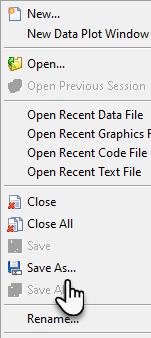 منوی File نرم افزار آکس متریکس Ox Metrics