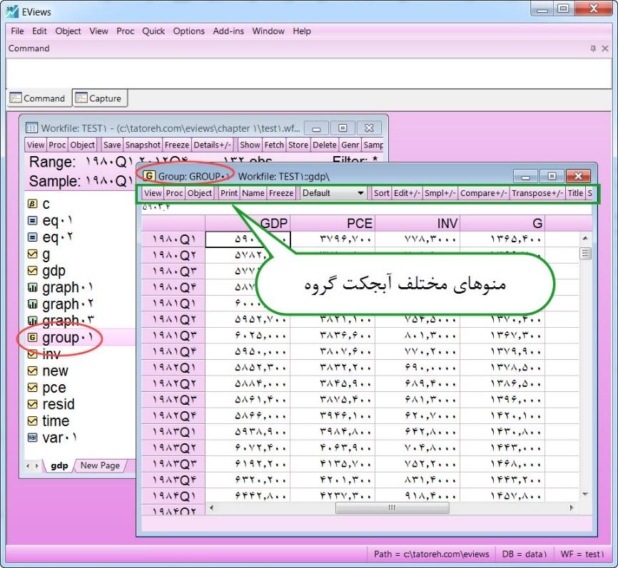 آبجکت گروه در نرم افزار ایویوز - Eviews