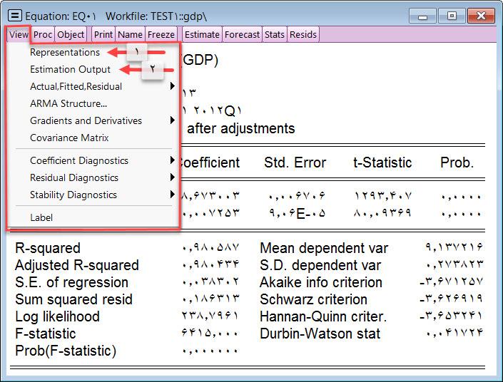 آبجکت معادله نرم افزار ایویوز Eviews