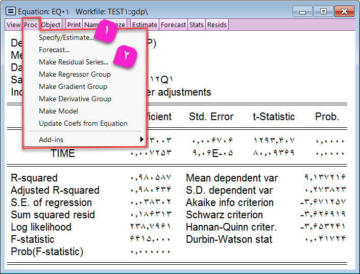 آبجکت معادله نرم افزار ایویوز - Eviews