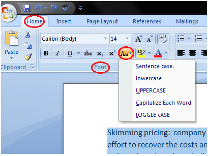 MS Word How to change text case in ms word 1