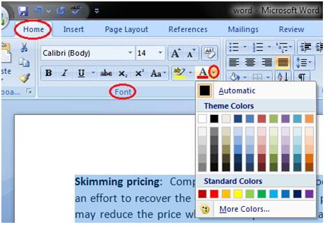 تغییر رنگ قلم متن در ورد