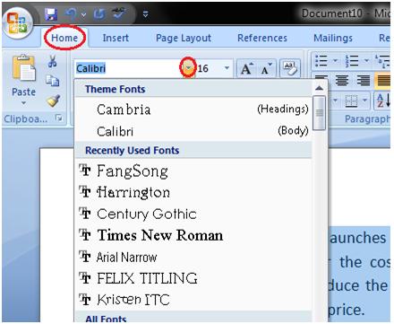 تغییر نوع قلم در ورد Word