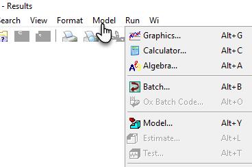 منوی Model - نرم افزار آکس متریکس