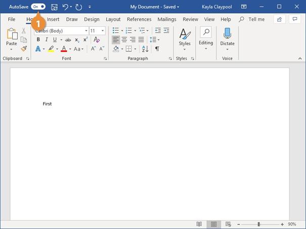 نحوه ذخیره فایل در ورد - ذخیره خودکار