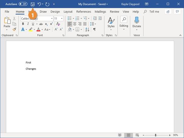 نحوه ذخیره فایل در ورد - ذخیره پیشرفت کار