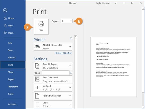 تعداد کپی هایی که می خواهید از فایل خود پرینت کنید، از طریق فیلد Copies تعیین کنید.